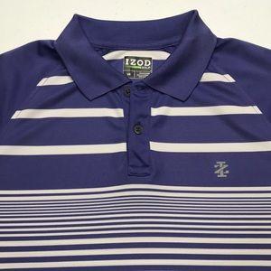 IZOD GOLF Mens Purple White Striped Polo Shirt